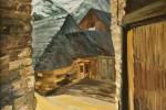 071. Casas aranesas. Oleo/tela. (55x46)10F. 2000. Garós. Vall d'Arán