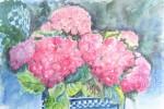 197 - Flores. Hortensias. Acuarela/papel. (50x35). 2001. Mas