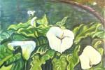 458-01 - Flores. Calas Horizontal. Acrílico/papel. (46x32). 2001. Mas