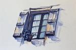 423 - Puertas y Ventanas. Cordes azul. Acuarela/papel. (24x19). 2006. Francia