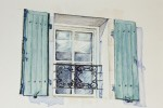 586 - Puertas y Ventanas. Ventana verde forja. Acuarela/papel. (24x19). 2009. Bretaña